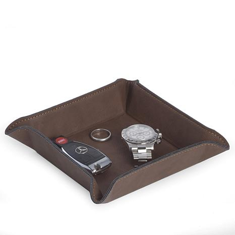 Bey-Berk Rustic Brown Leatherette Square Valet