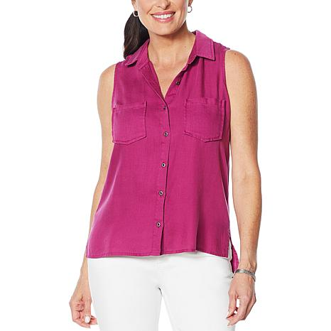 Billy T Coastal Blooms Sleeveless Button-Up Blouse