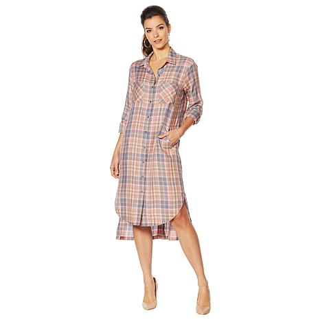 Billy T Plaid Print Tunic Dress with Pockets