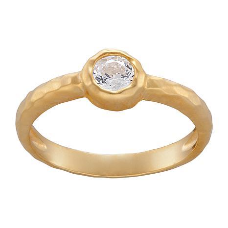 Birthstone Crystal Matte Hammered Stackable Ring