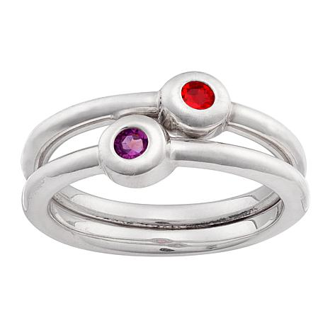 Birthstone Crystal Round Stackable Ring - Set of 2