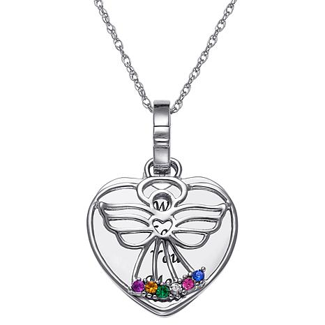 Sterling silver engraved heart with birthstone angel necklace birthstone crystal sterling silver angel heart pendant with chain aloadofball Choice Image