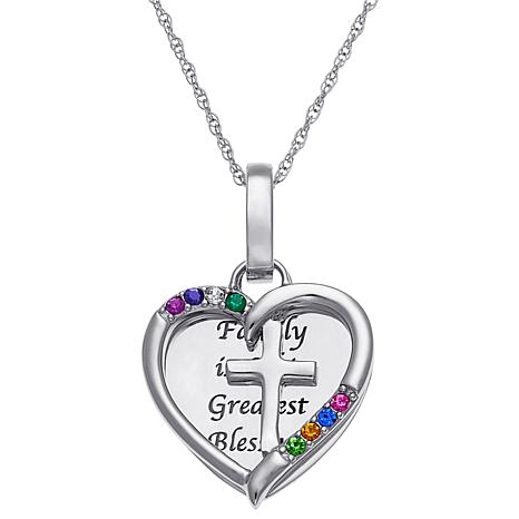 Birthstone Crystal Sterling Silver Engravable Cross Heart Pendant