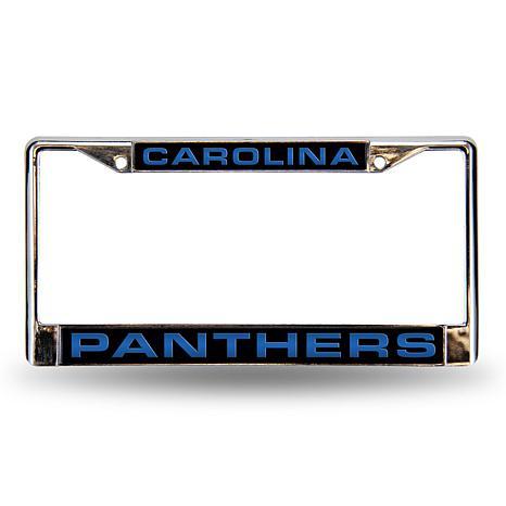 black chrome license plate frame carolina panthers