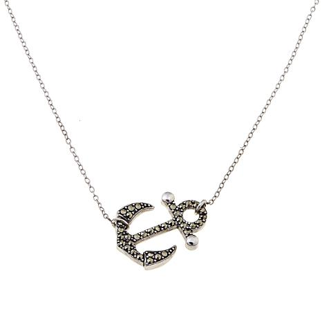 "Black Marcasite Anchor Sterling Silver 18"" Necklace"