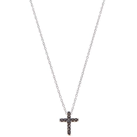 "Black Marcasite Cross Pendant Drop 13"" Choker Necklace"