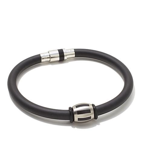 "Black Rubber and Stainless Steel Bead Magnetic 8"" Bracelet"