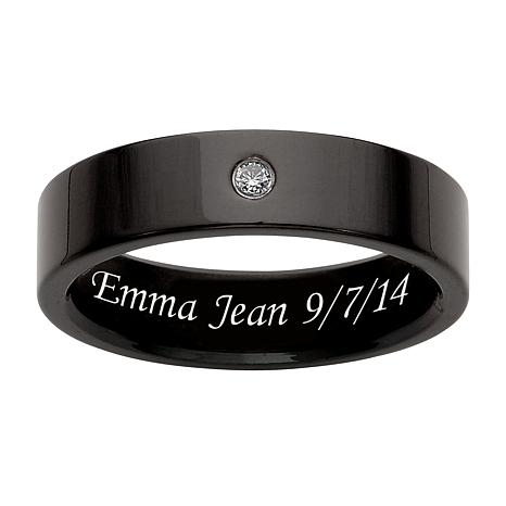 Black Titanium CZ Engraved Message Band