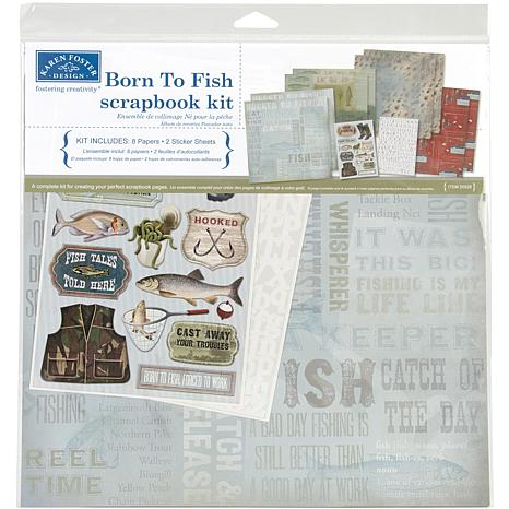 "Born To Fish 12"" x 12"" Scrapbook Page Kit"