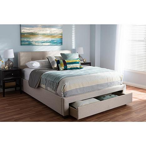 Brandy Lt Beige Queen-Size Storage Platform Bed