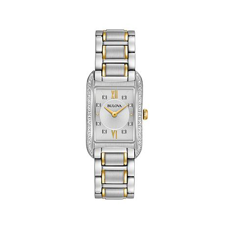 Bulova 2-Tone Diamond Rectangular Case Bracelet Watch