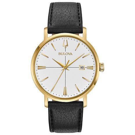 "Bulova ""Aerojet"" Goldtone Stainless Men's Black Leather Strap Watch"