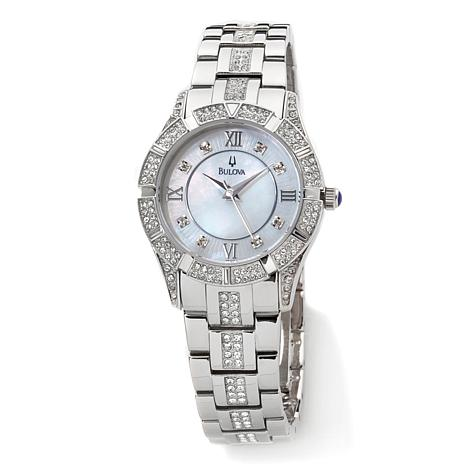 f4a176e6fc8f3 Bulova Ladies' Mother-of-Pearl Crystal-Encrusted Stainless Steel Bracelet  Watch