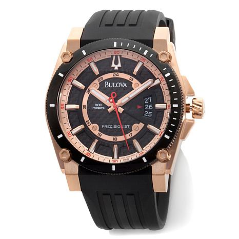 Bulova Men Precisionist Rosetone Rubber Strap Watch