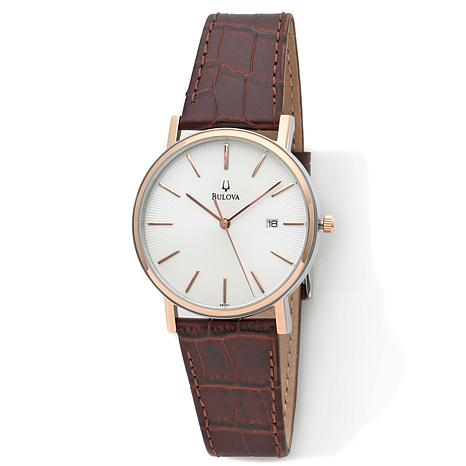 Bulova Men Rosetone Dial Brown Leather Strap Watch