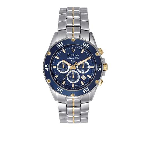 ba189a177 Bulova Men's Blue Dial 2-Tone Stainless Steel Marine Star Collection ...