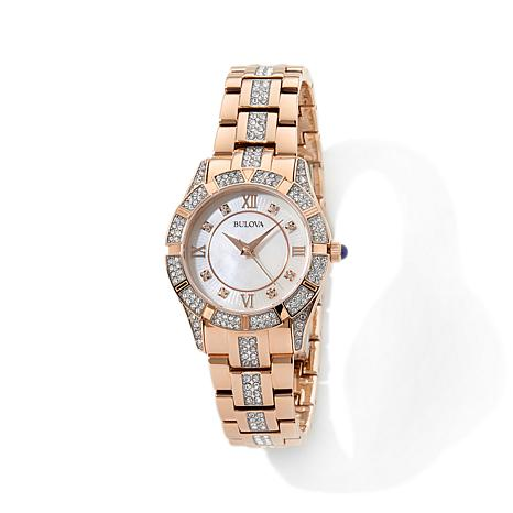 Bulova Mother-of-Pearl Dial Crystal Bracelet Watch