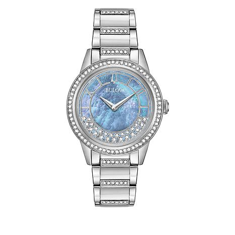"Bulova ""TurnStyle"" Silvertone Stainless Steel Floating Crystal Watch"