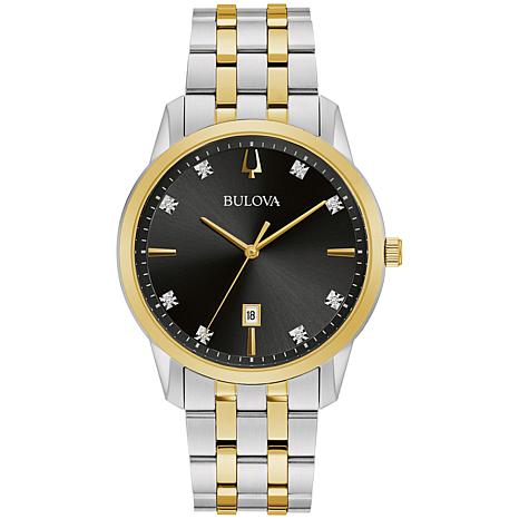 Bulova Two-Tone Men's Diamond-Accented Date Feature Watch