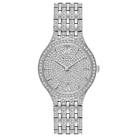 Bulova Women's Slim Silver-Tone Crystal Watch with Pave Dial