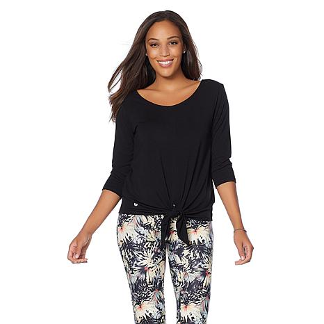 Bzees 3/4 Sleeve Tie-Front Top with SPF 40