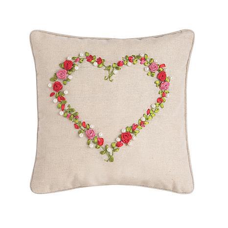 C&F Home Rose Heart Ribbon Art Pillow