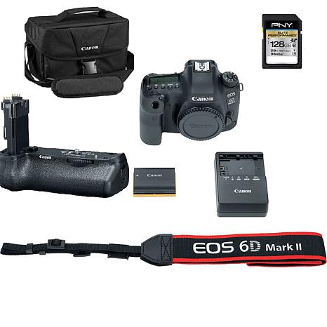 Canon EOS 6D Mark II Digital Camera w/Bag, Battery Grip & Memory Card