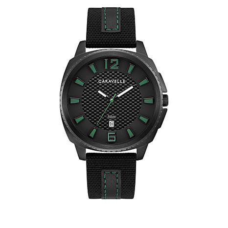 Caravelle  Black Stainless Steel Men's Nylon and Leather Strap Watch