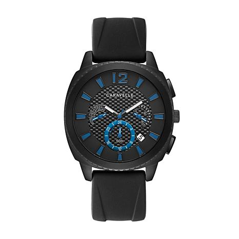 Caravelle by Bulova Men's Black Silicone Strap Chronograph Watch