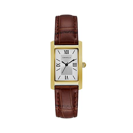 Caravelle Goldtone Rectangular Brown Strap Watch