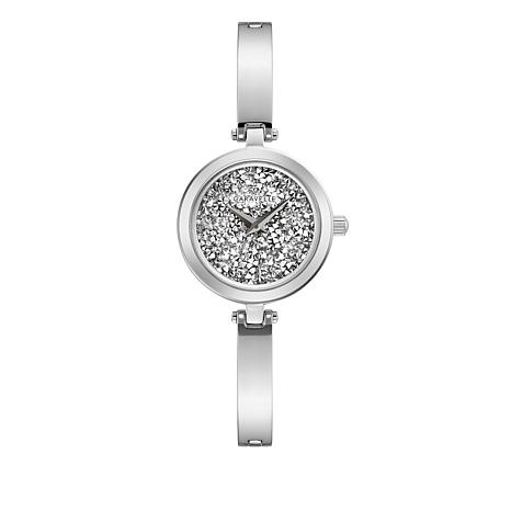 Caravelle Silvertone Multi Crystal Dial Semi Bangle Watch