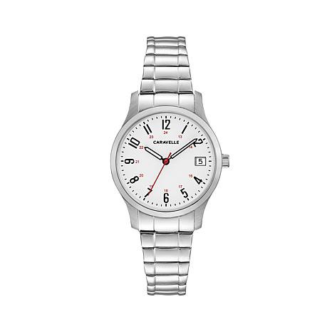 Caravelle Silvertone Stianless Steel White Dial Watch