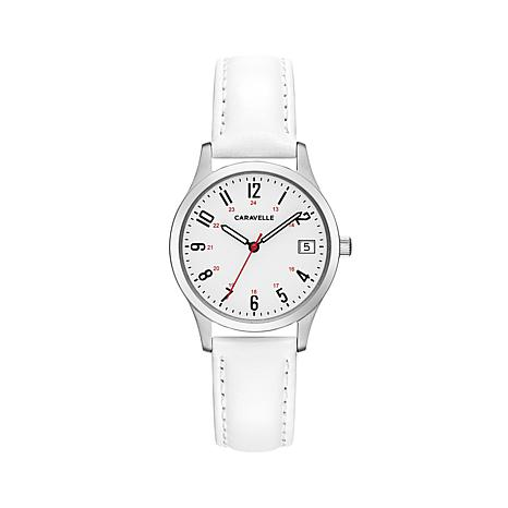 Caravelle Stainless White Dial Watch