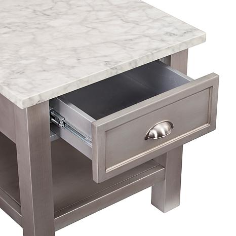 caris faux marble square end table gray 8521770 hsn. Black Bedroom Furniture Sets. Home Design Ideas
