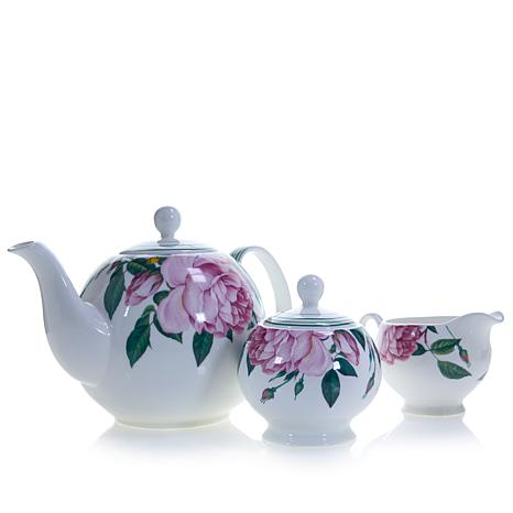 Carleton Varney 3-piece Fine Bone China Rose Tea Set