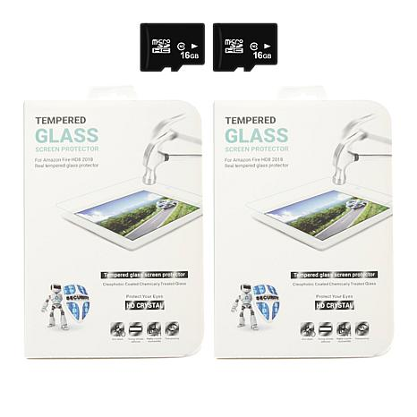 """Caseable 2-pack Fire HD 8"""" Screen Protector and 16GB microSD Card"""