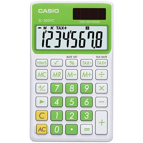 CASIO® SL300VCPLSIH Solar Wallet Calculator w/8-Digit Display - Green