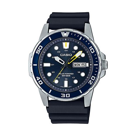 Casio Stainless Steel Men's Solar-Powered Analog Blue Dial Watch