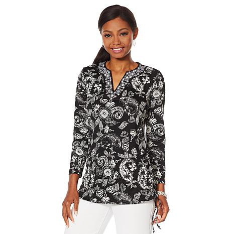 Caya Costa Long Sleeve Embroidered Tunic