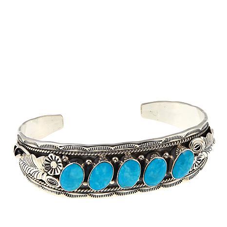 Chaco Canyon 5-Stone Kingman Turquoise Floral Cuff Bracelet