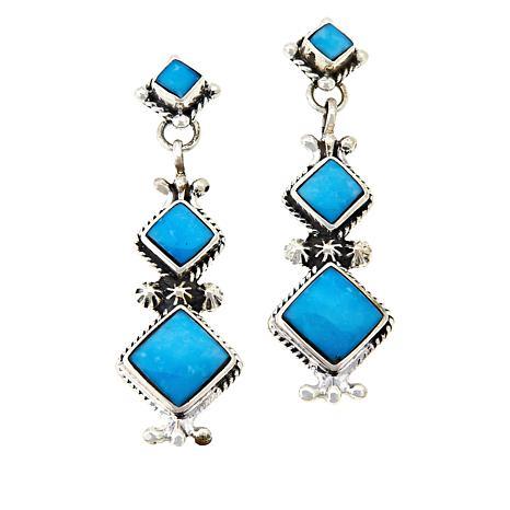 Chaco Canyon Graduated Square Kingman Turquoise Drop Earrings