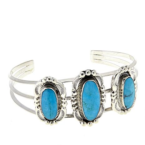"""Chaco Canyon Kingman Turquoise 3-Stone 5-3/4"""" Silver Wire Cuff"""