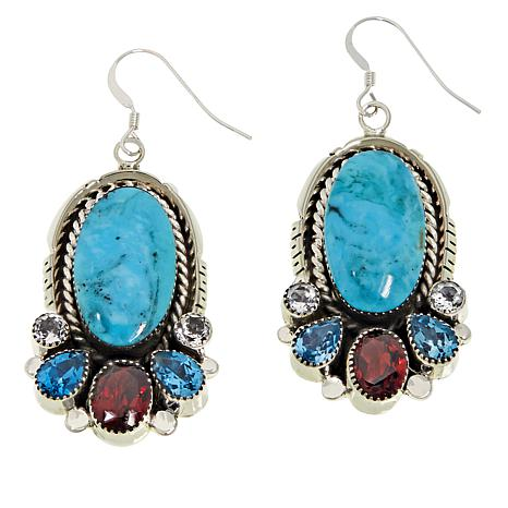 Chaco Canyon Kingman Turquoise and Multi-Gem Oval Earrings