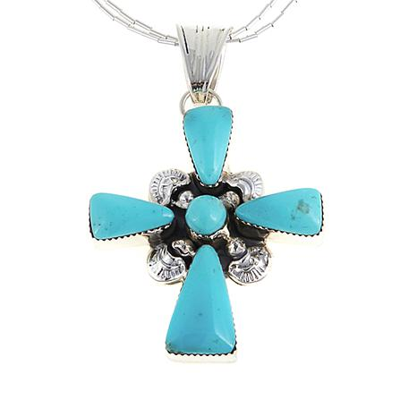 Chaco Canyon Kingman Turquoise Cross Pendant