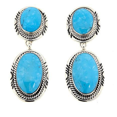 Chaco Canyon Kingman Turquoise Oval Drop Sterling Silver Earrings