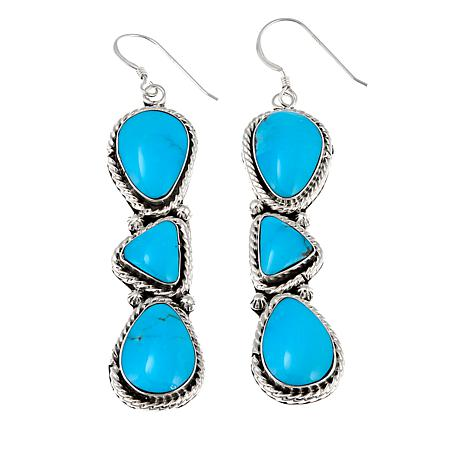 Chaco Canyon Multicut Kingman Turquoise Sterling Silver Earrings