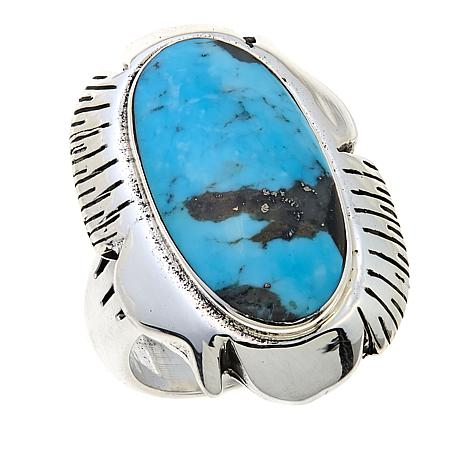 Chaco Canyon Oval Kingman Turquoise Etched Sterling Silver  Ring