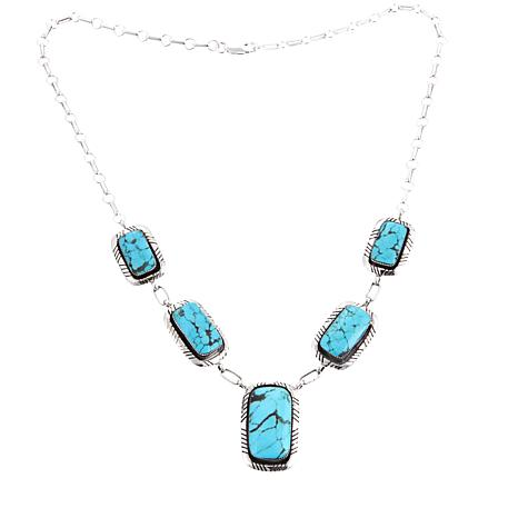Chaco Canyon Rectangular Kingman Turquoise Station Necklace