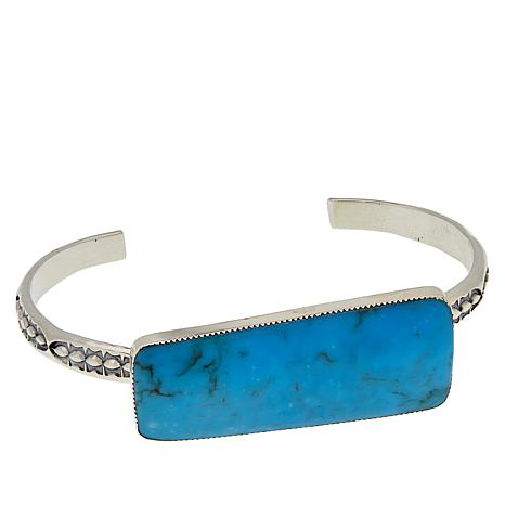 Chaco Canyon Sterling Silver Blue Kingman Turquoise Slab Cuff Bracelet
