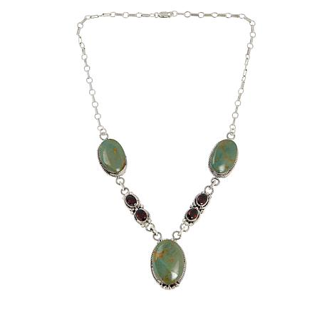 Chaco Canyon Sterling Silver Kingman Turquoise and Gemstone Necklace